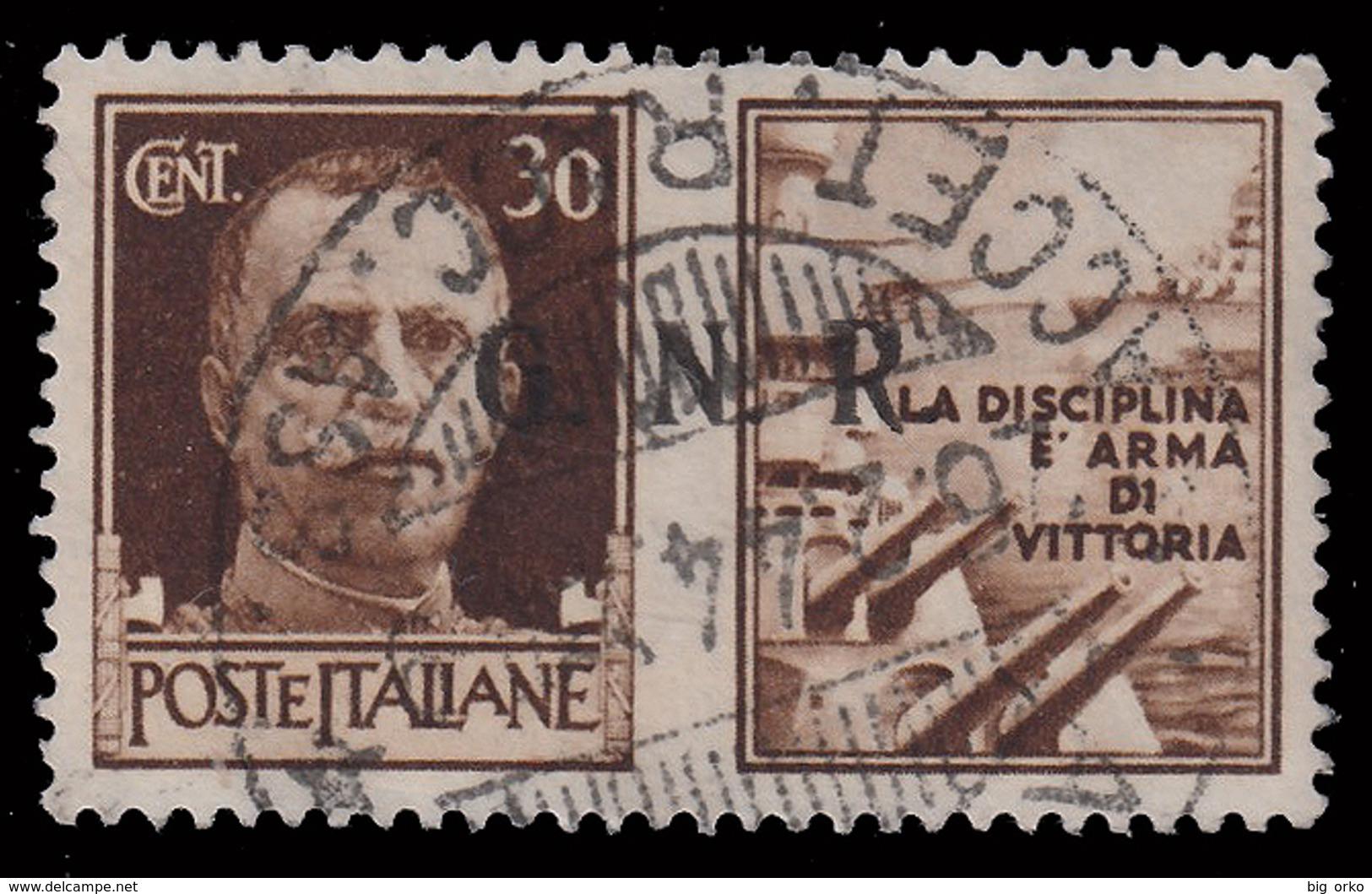 Italia: R.S.I. - PROPAGANDA DI GUERRA / G.N.R.: 30 C. Bruno (I - Marina) - 1944 - 4. 1944-45 Repubblica Sociale