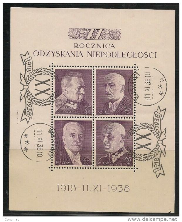 POLAND - XX ANNIVERSAIRE De L´INDEPENDANCE SS - 1938 Yvert Bloc # 7 - USED With FIRST DAY CANCEL - Blocks & Kleinbögen
