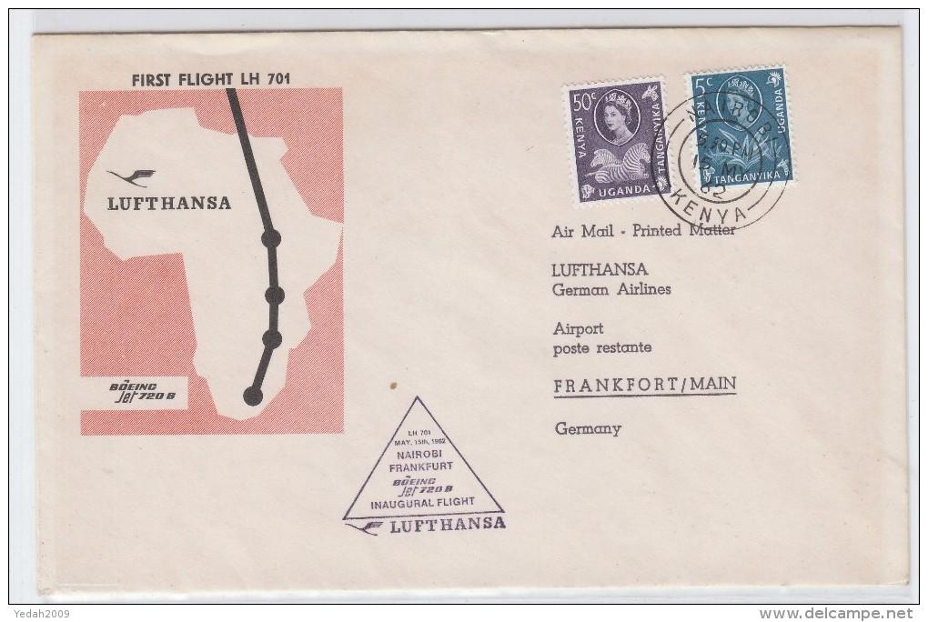 KUT FIRST FLIGHT NAIROBI/FRANKFURT LH 701 LUFTHANSA COVER 1962 - Stamps