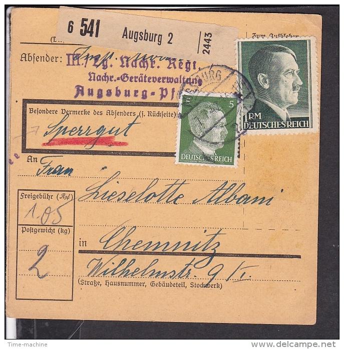 Deutsches Reich Paketkarte  Stempel  Augsburg 1942 - Briefe U. Dokumente