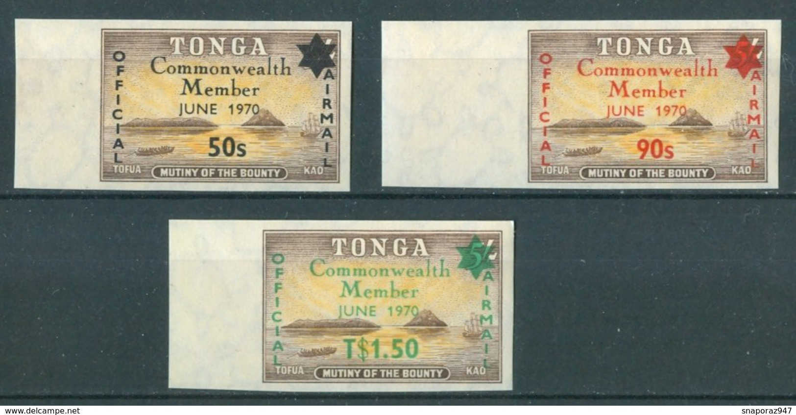 1970 Tonga Indipendence Adhesives Airmail + Air Service Set ** - Tonga (1970-...)