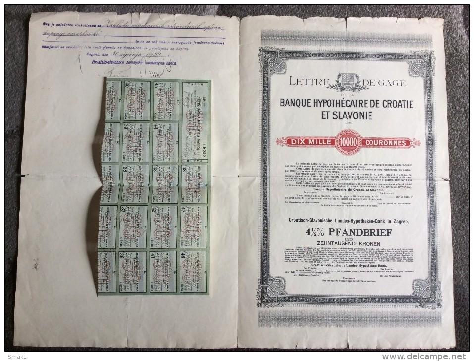 AKTIE   SHARES   STOCK   STOCKS BONDS HRVATSKO SLAVONSKO ZEMALJSKA HIPOTEKARNA BANKA 1921. 10 000  KRUNA  ZAGREB CROATIA - Banque & Assurance