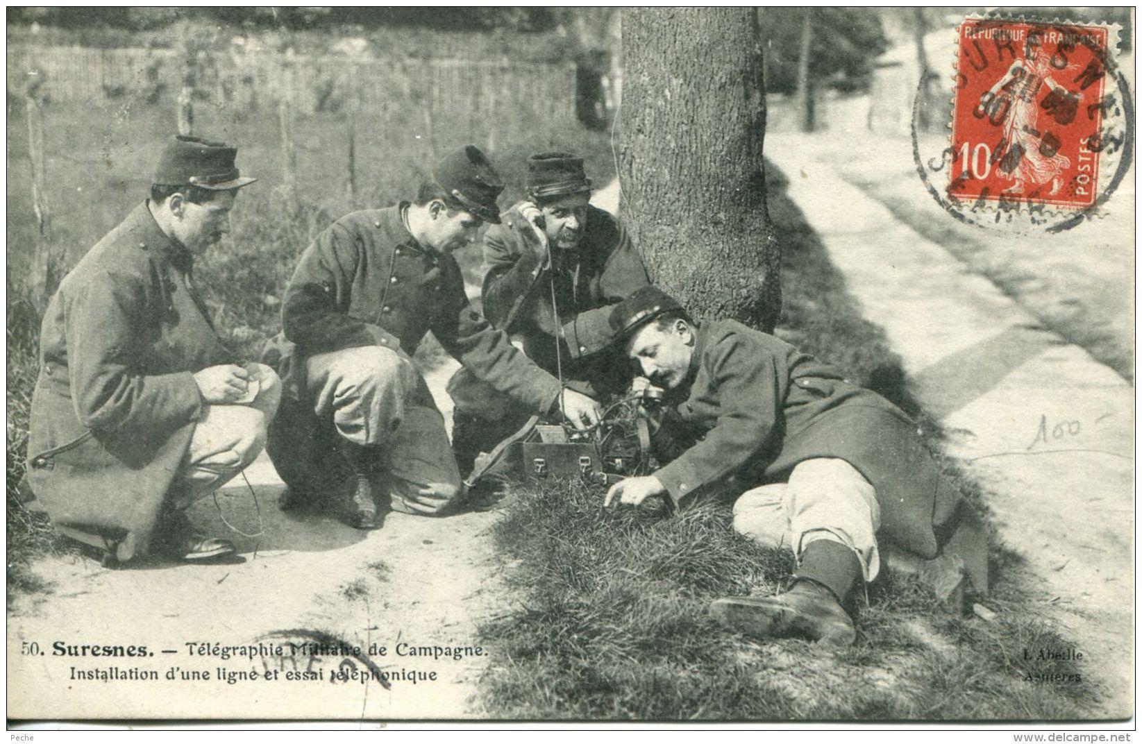 N°50461 -cpa Suresnes -télégraphie Militaire De Campagne- Installation D'une Ligne Et Essai- - Manovre