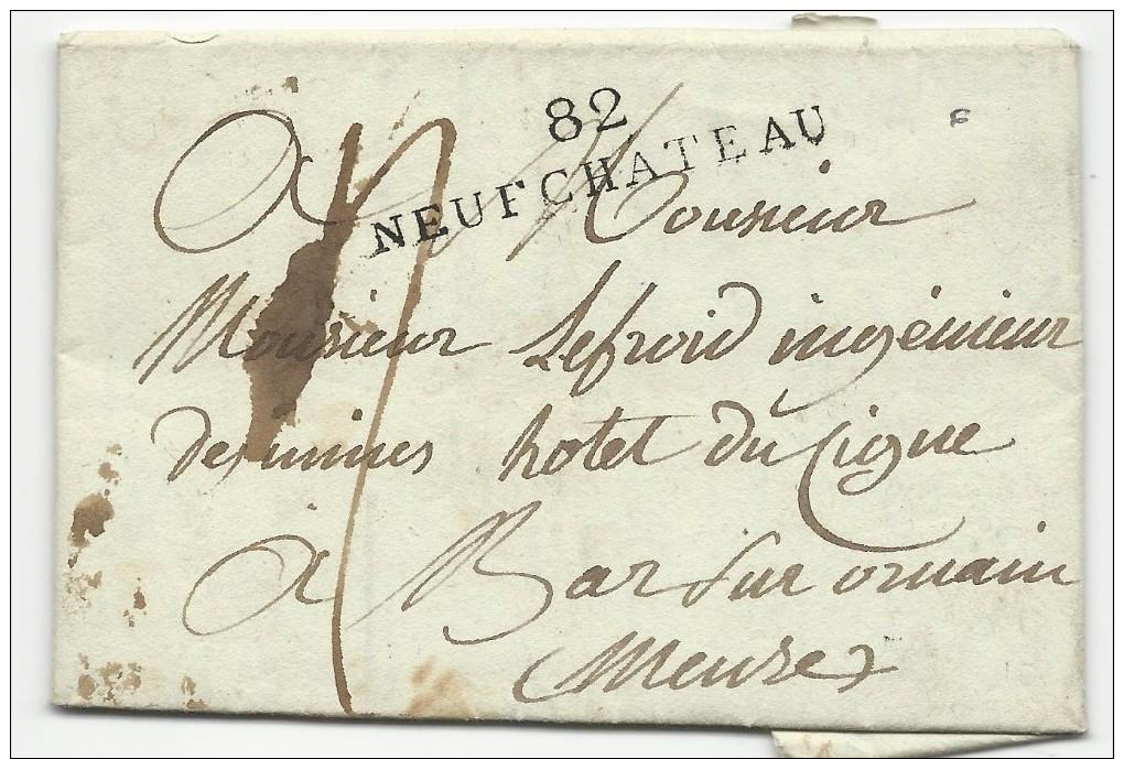 VOSGES - 1812 - LETTRE Avec MARQUE LINEAIRE De NEUFCHATEAU Pour BAR SUR ORNAIN (MEUSE) - Marcophilie (Lettres)