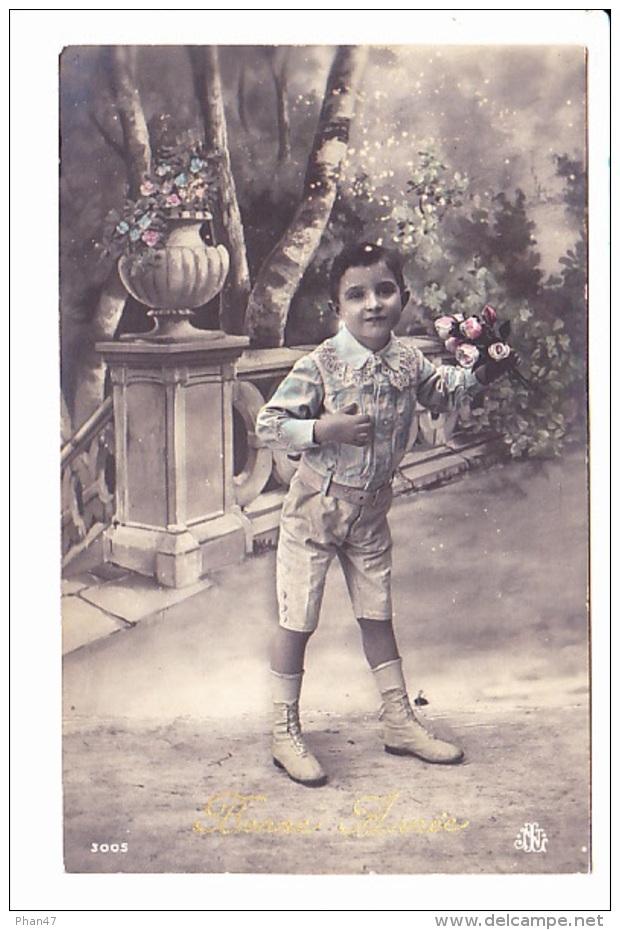 BONNE ANNEE, PETIT GARCON ET ROSES Sur BALUSTRADE, Lenormand St Pierre Du Fresne, Ed. NL 1912 - Nouvel An