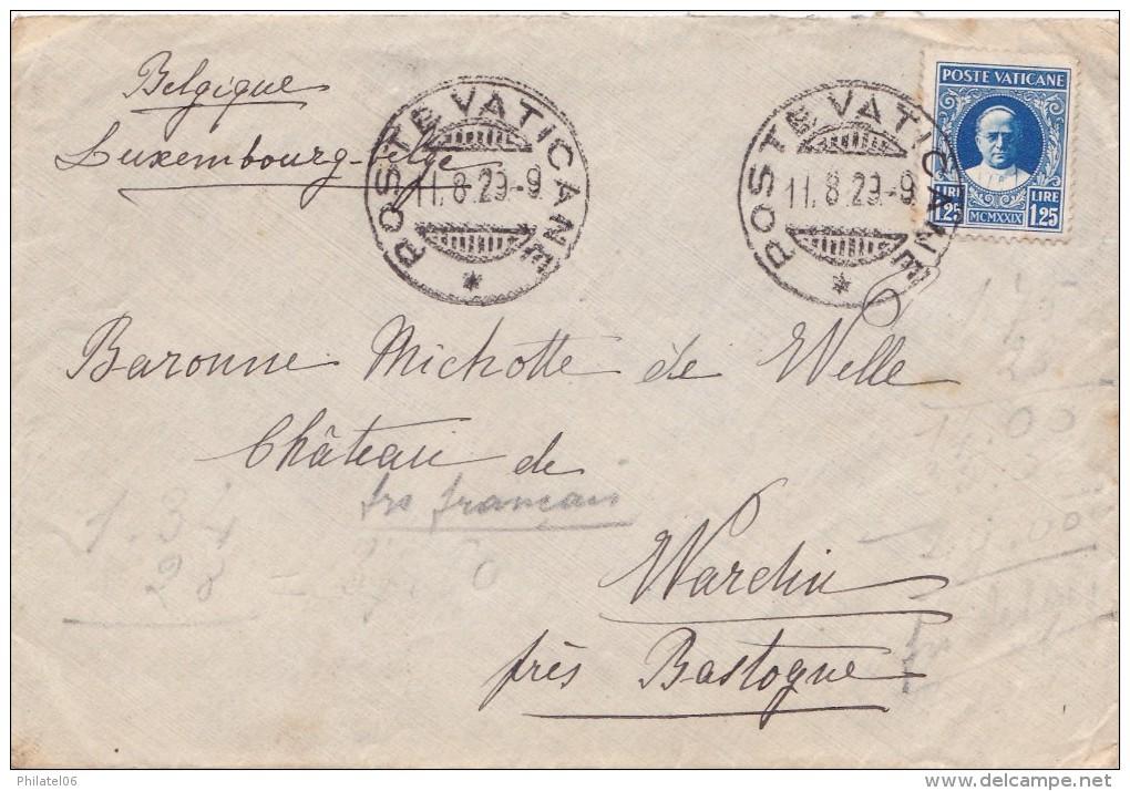 VATICAN  LETTRE POUR LA BELGIQUE  CACHET D'ARRIVEE - ...-1929 Préphilatélie