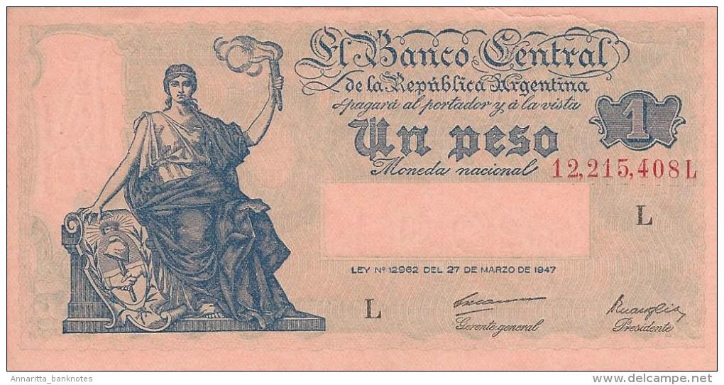 ARGENTINA 1 PESO 1948 P-257a UNC SERIES L, SIGN: CARRERAS & MAROGLIO [ AR257a1 ] - Argentine