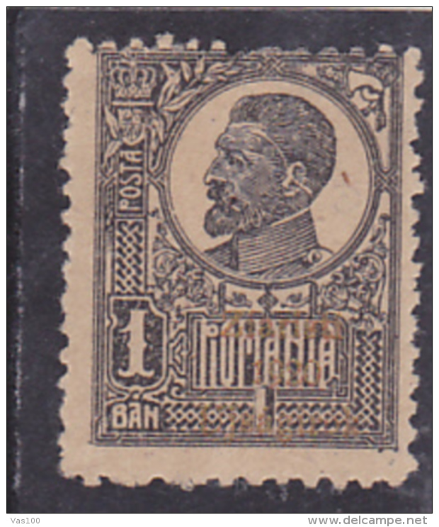 # 193 KING FERDINAND, 1 BAN, MLH, OVERPRINT, ONE STAMP, ROMANIA. - 1918-1948 Ferdinand, Charles II & Michael