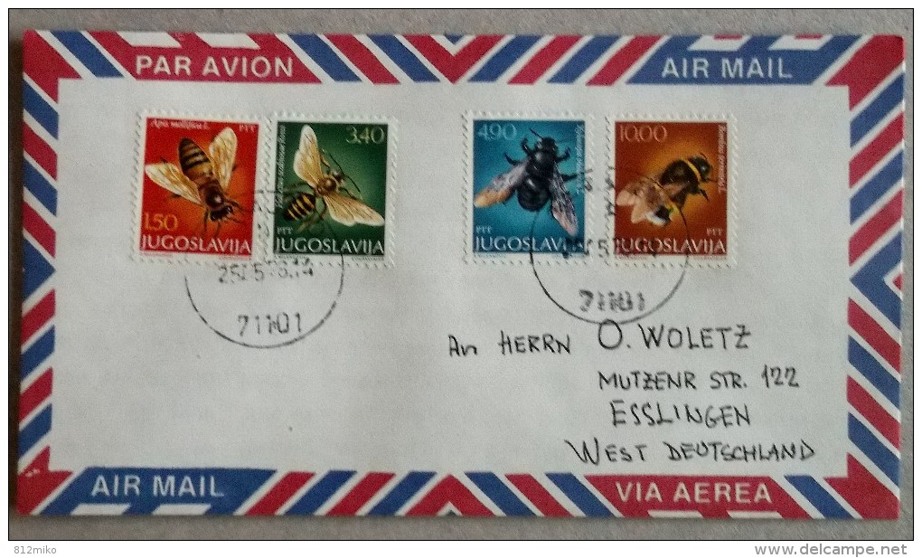 Yugoslavia Nice Cover To Germany (honeybees) - Abeilles