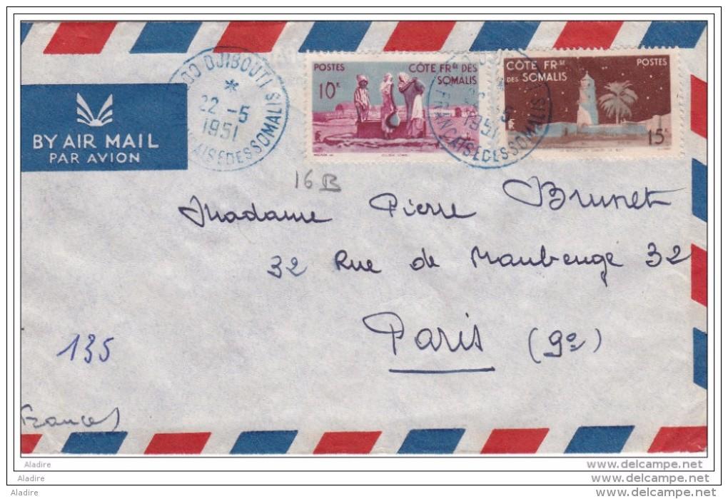 1951 - Côte Française Des Somalis - Enveloppe Par Avion De  Djibouti Vers Paris Au Tarif - Cachet Encre Bleue - Lettres & Documents