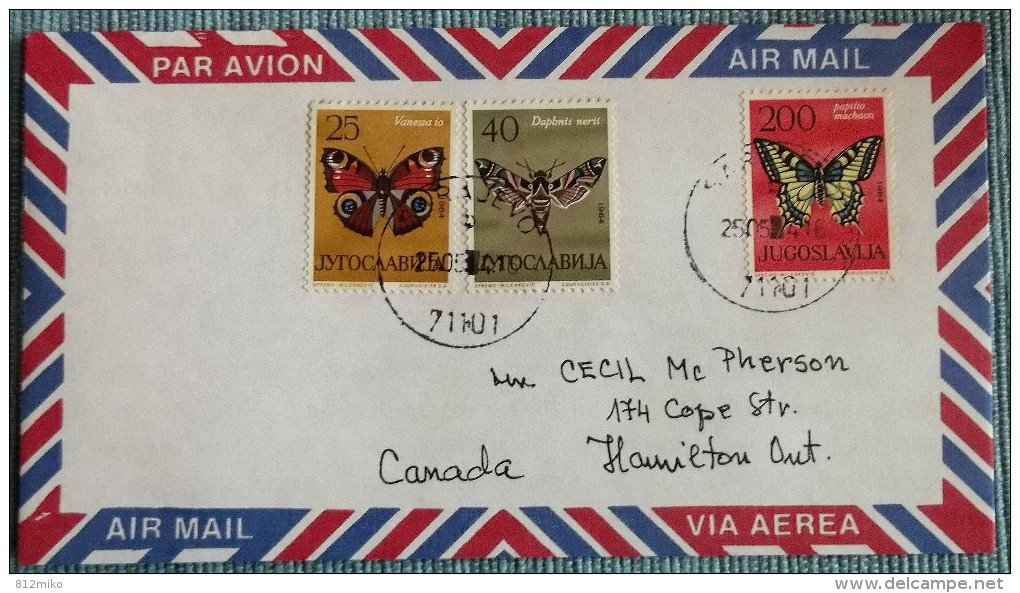 Yugoslavia Nice Cover To CANADA 1964 J. - Papillons