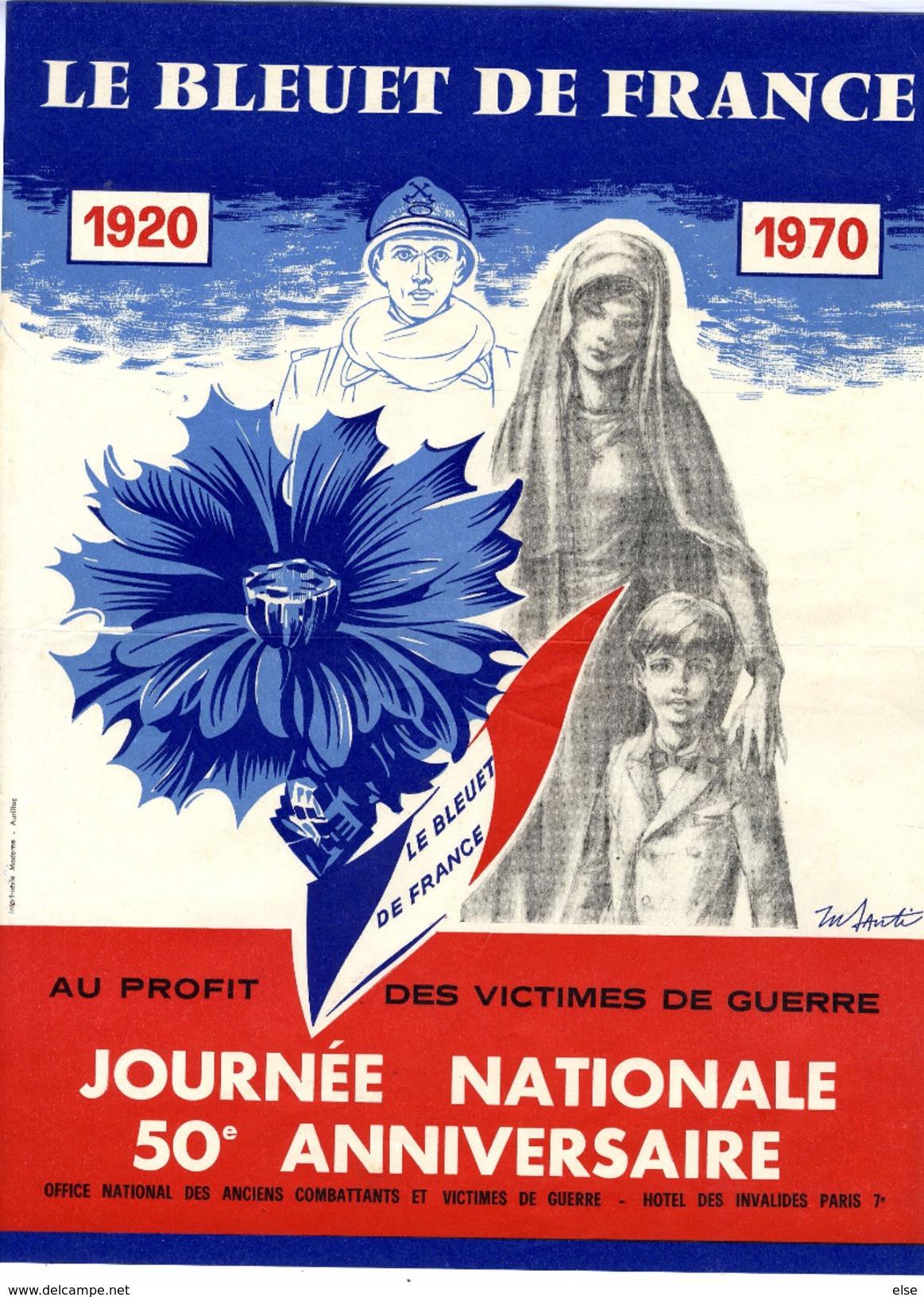LE BLEUET DE FRANCE  1920 1970  AU PROFIT DES VICTIMES DE GUERRE  JOURNEE NATIONALE  -  AFFICHE ILLUSTREE - 1939-45