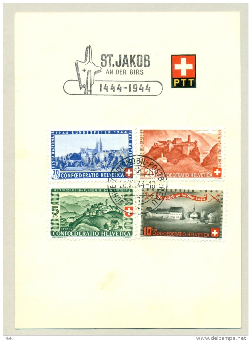 Schweiz - 1944 - Pro Patria Set On PTT Leaflet St Jakob An Der Birs, Cancel Automobil Postbureau - Briefe U. Dokumente