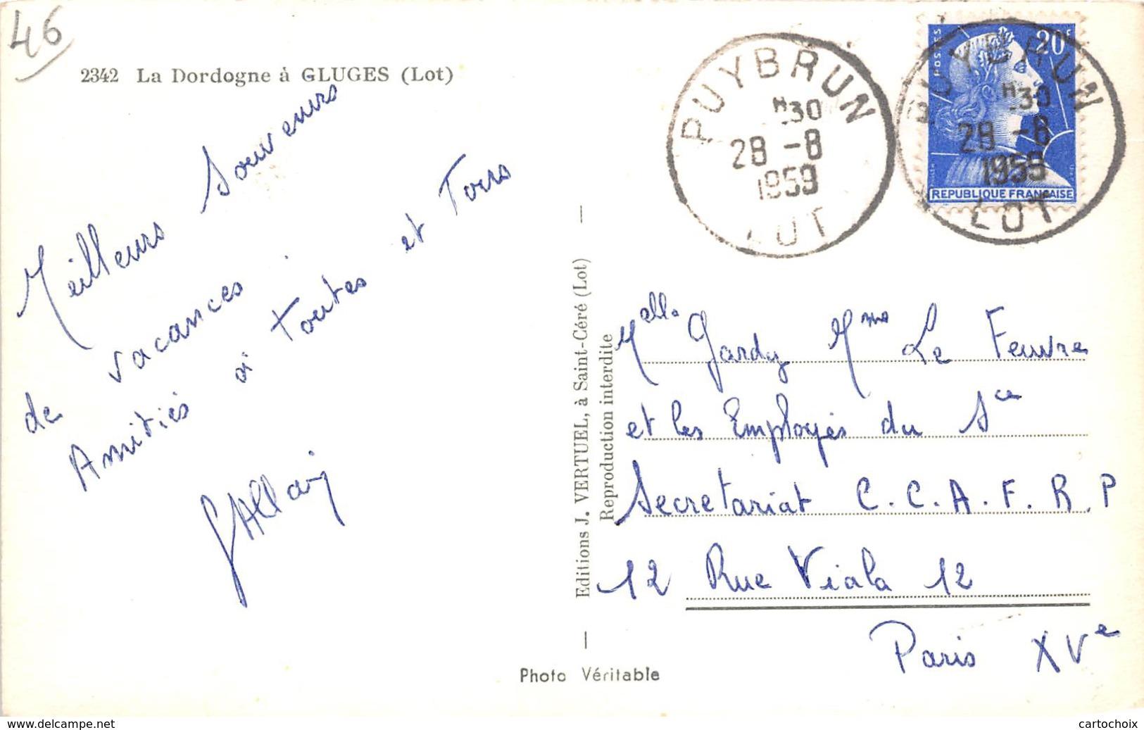 46 - Gluges - La Dordogne -( Falâise,pêcheur,camion ) - Autres Communes
