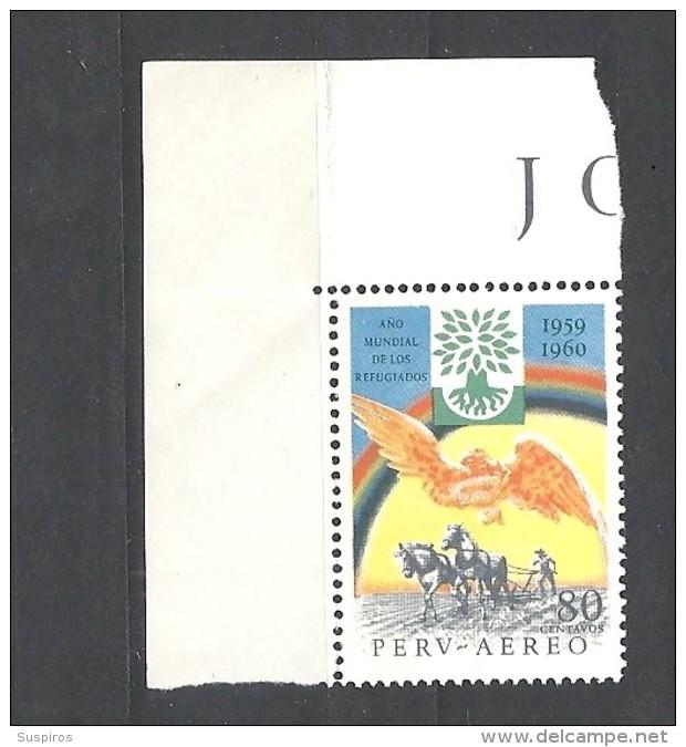 PERU    -   1960 Airmail - World Refugee Year 582 MNH** - Peru