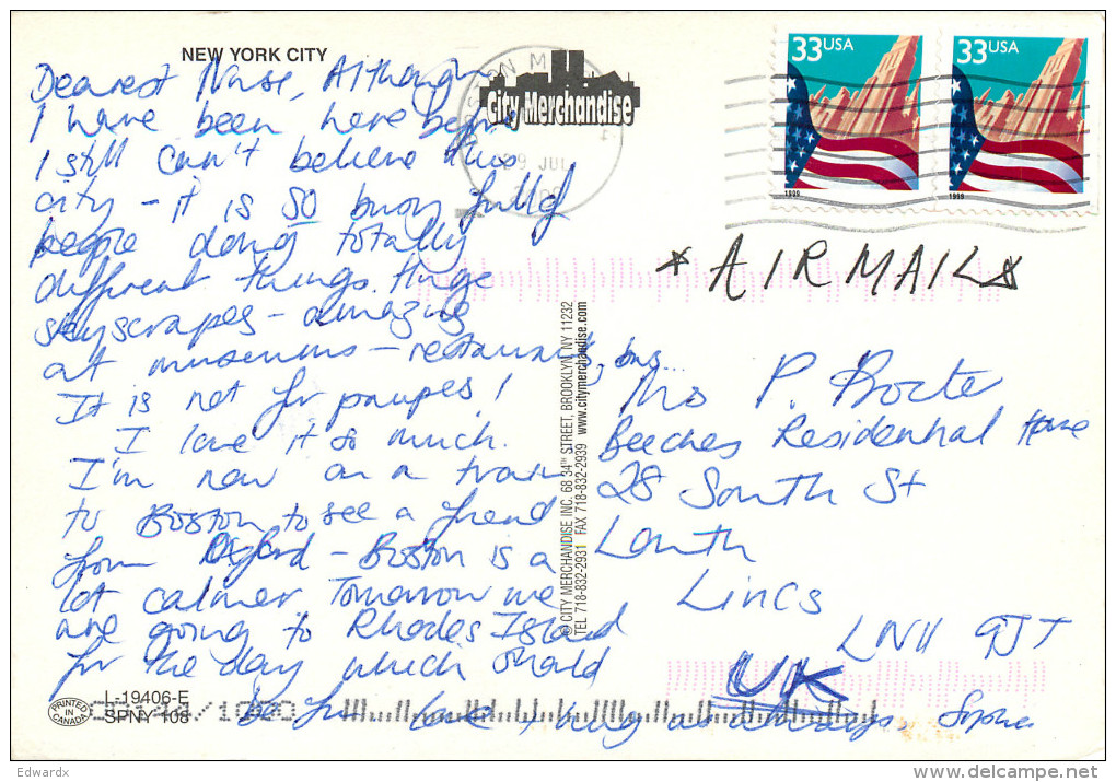 Skyline, New York City NYC, New York, United States US Postcard Posted 2000 Stamp - Unclassified