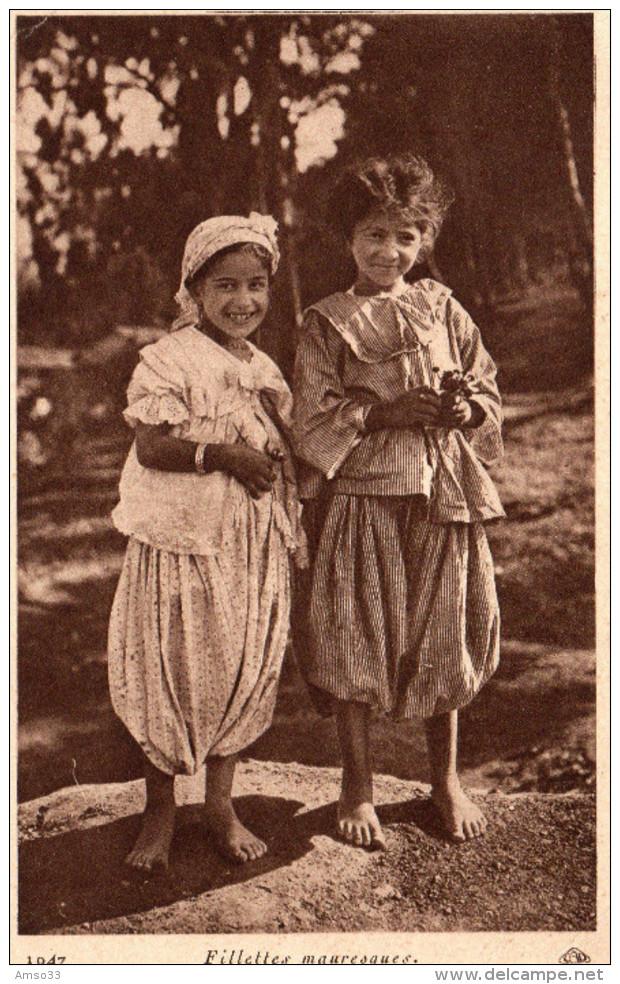 7971. CPA ALGERIE. FILLETTES MAURESQUES. 1937 - Enfants