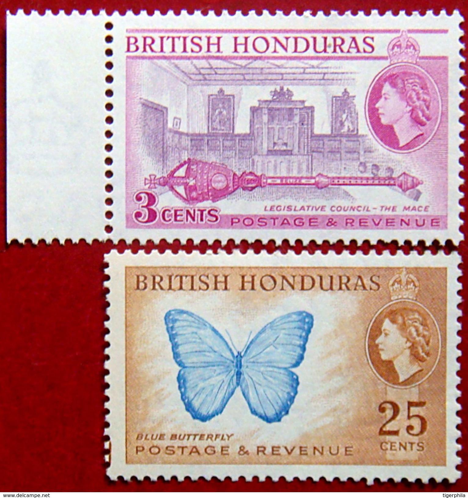 BRITISH HONDURAS 1953 3c,25c Queen Elizabeth II MLH Scott146a,151 CV$8 - British Honduras (...-1970)