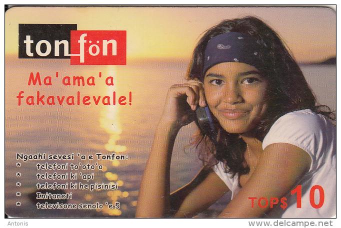 TONGA - Girl On Phone, TonFon Prepaid Card TOP$10, Used - Tonga