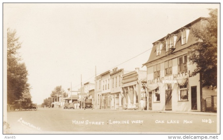 Oak Lake Manitoba Canada (near Sifton), Main Street Scene, Oakland Hotel, Autos, C1920s Vintage Real Photo Postcard - Other