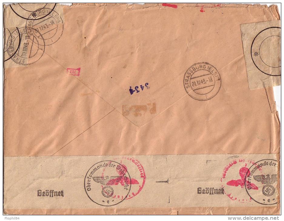 SEINE - MONTROUGE - DOUBLE BANDE DE CENSURE - SUPERBE AFFRANCHISSEMENT AVEC SERIE PERSONNAGES + MERCURE ET PETAIN - Guerre De 1939-45