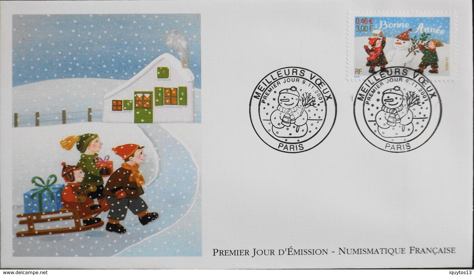 FR. 2001 - Env. 1er JOUR D'EMISSION - NUMISMATIQUE FRANCAISE - Meilleurs Voeux - Paris - Le 09.11.2001 - SUPERBE - FDC