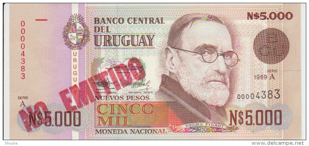 Uruguay 5000 Pesos 1989 Pick 68A UNC Red - Uruguay