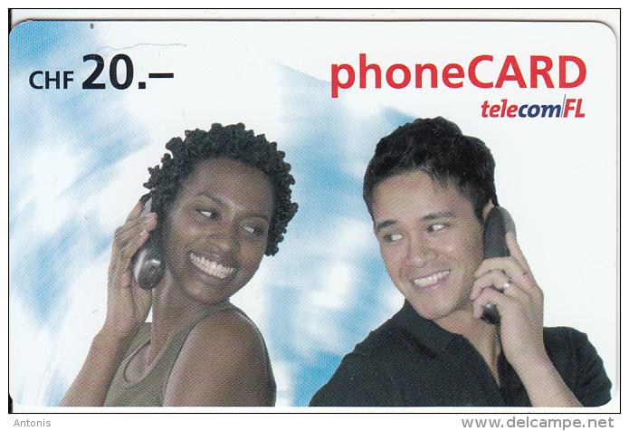 LIECHTENSTEIN - Couple On Phone, Telecom FL Prepaid Card CHF 20, Exp.date 12/07, Used - Liechtenstein