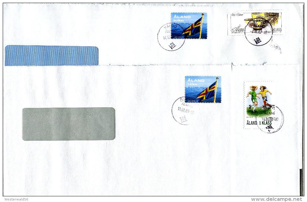 (1657) Aland 4 Bedarfsbriefe Innerhalb Aland Gelaufen, Aus ÖDKARBY, SALTVIK, 2x VÄRDÖ (defekter Tagesstempel) - Aland