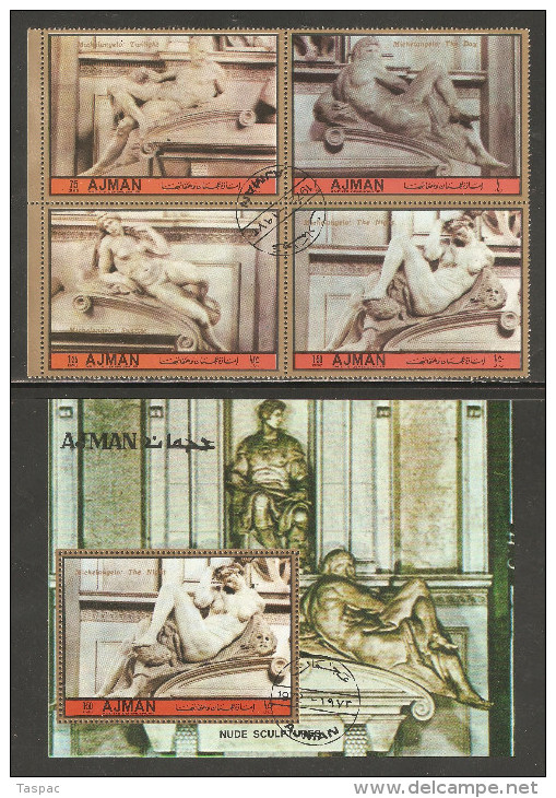 Ajman 1972 Mi# 1682-1685, Block 384 A Used - Michelangelo Buanaroti / Sculptures - Ajman
