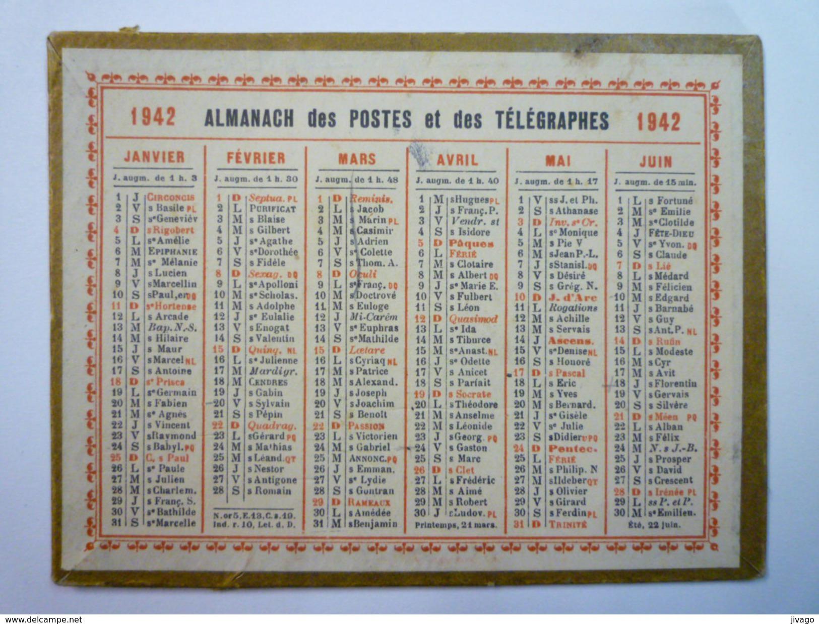Petit  CALENDRIER  Des POSTES  1942  (Format 12,5 X 9,5cm) - Calendriers