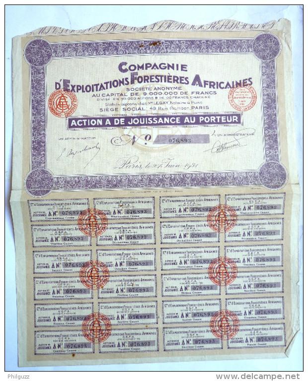 ACTION COMPAGNIE D'EXPLOITATIONS FORESTIERES AFRICAINES  -  1931 TITRE 076893 - Afrique