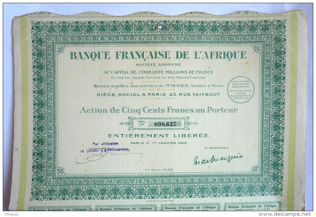 ACTION BANQUE FRANCAISE DE L'AFRIQUE  -  1928 TITRE 098627 - Afrique