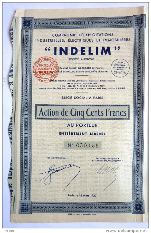 ACTION COMPAGNIE D'EXPLOITATIONS INDUSTRIELLES ELECTRIQUES ET IMMOBILIERES INDELIM - 1932 TITRE 050159 - Electricité & Gaz