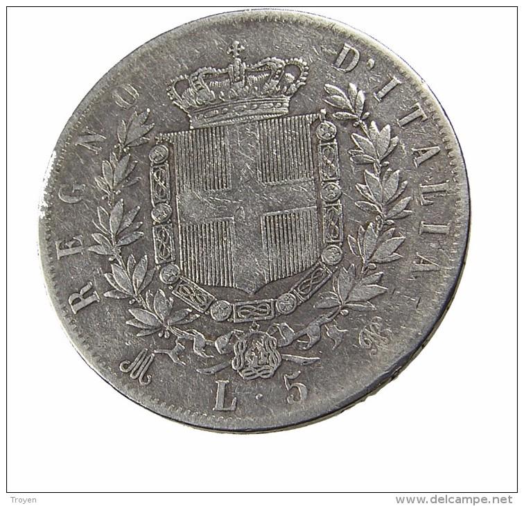 5 Lires - Italie - 1875 - TB - Arg. - - 1861-1878 : Victor Emmanuel II