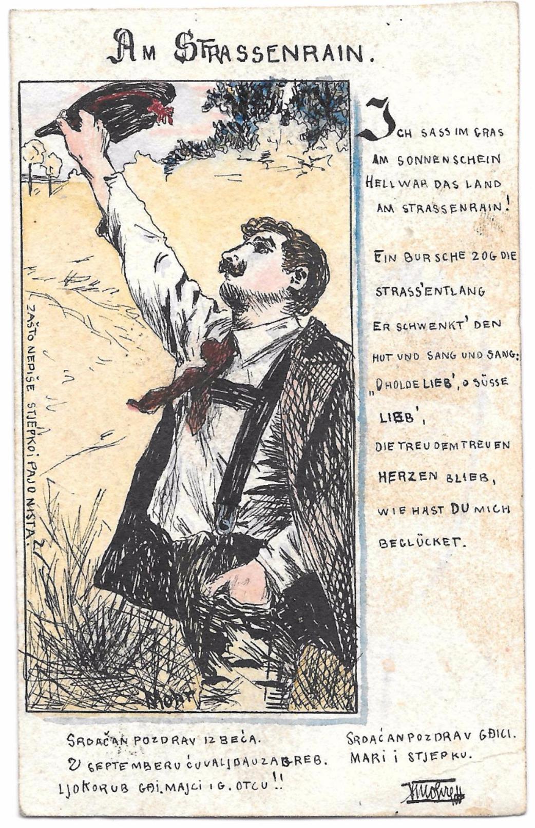 Art Nouveau RAPHAEL KIRCHNER?  -  Cartolina Dipinta A Mano ! -  - INEDITA -  NON STAMPATA   RRR  Unica - Kirchner, Raphael