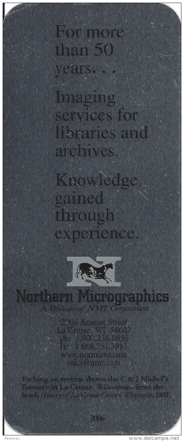 Unique Detailed Metal Bookmark From Northern Micrographics Dated 2006 - Bookmarks