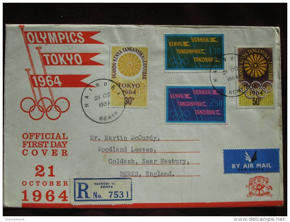 1964 Kenya Uganda Tanganyika Zanzibar - Tokyo Summer Olympic Games - Postally-Used FDC (Flags + Emblems) - Summer 1964: Tokyo