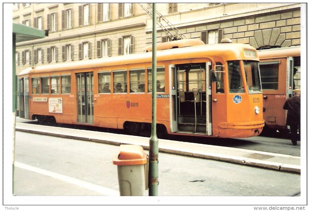 Photo Originale-Italia-Italie +/-1980-Tram-Tramway-ROME-ROMA Foto Di Un TRAMWAY Linea 14 -TW 8011-13x8,8cm - Eisenbahnen