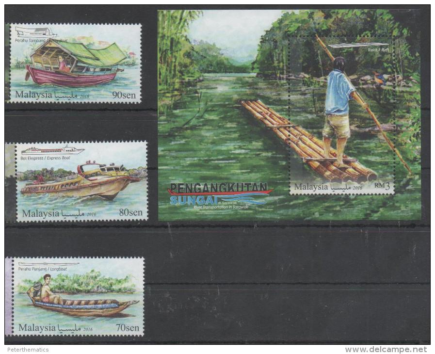 MALAYSIA, 2016, MNH, RIVER TRANSPORT, BOATS, RAFTS, BIRDS, 3v+S/SHEET - Ships