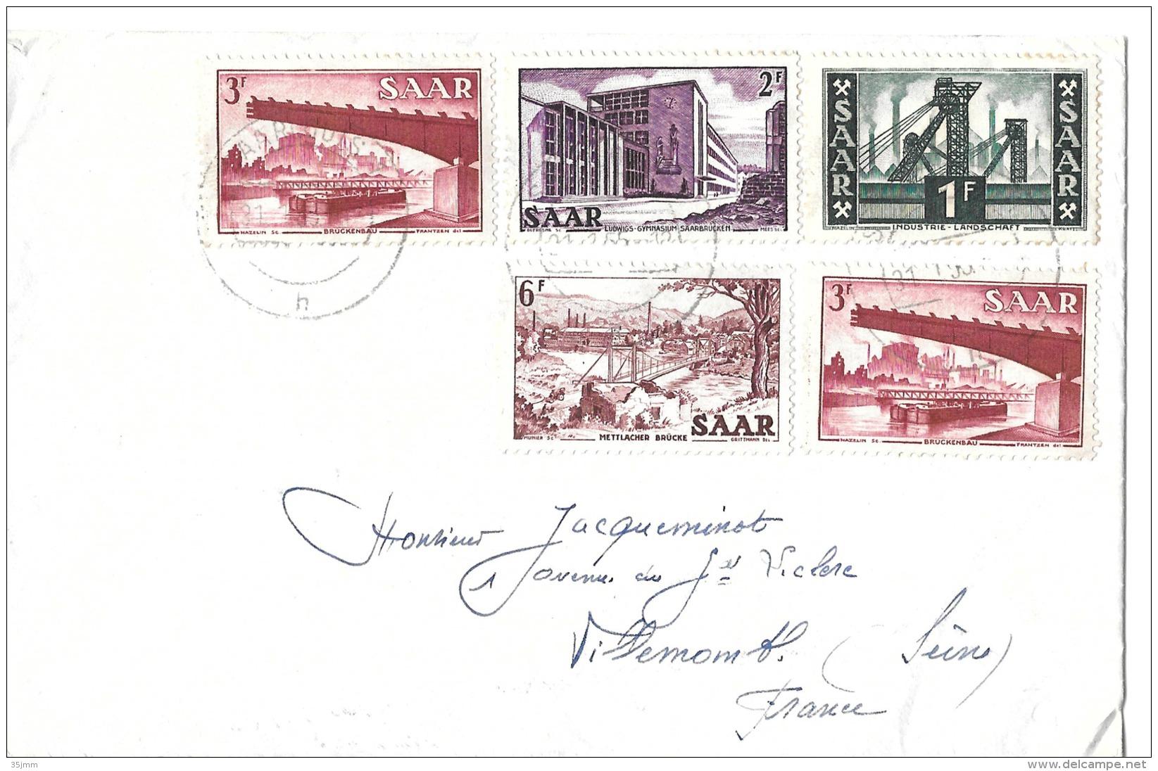 Lettre Sarre 1955 - Lettres & Documents