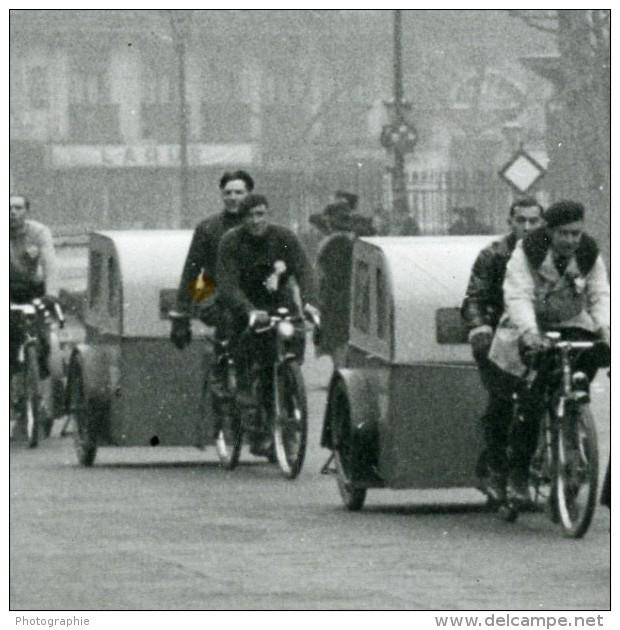 France Paris Transports Urbain Velotaxi Tandem Mariage Ancienne Photo Aubry 1941 - Cycling