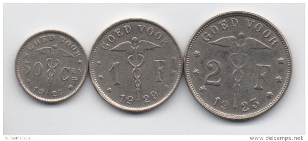 Belgique : Série De 3 Monnaies De Nécessité En Flamand : GOED VOOR 50 Cen - 1F - 2F 1923-1929 - 1909-1934: Albert I