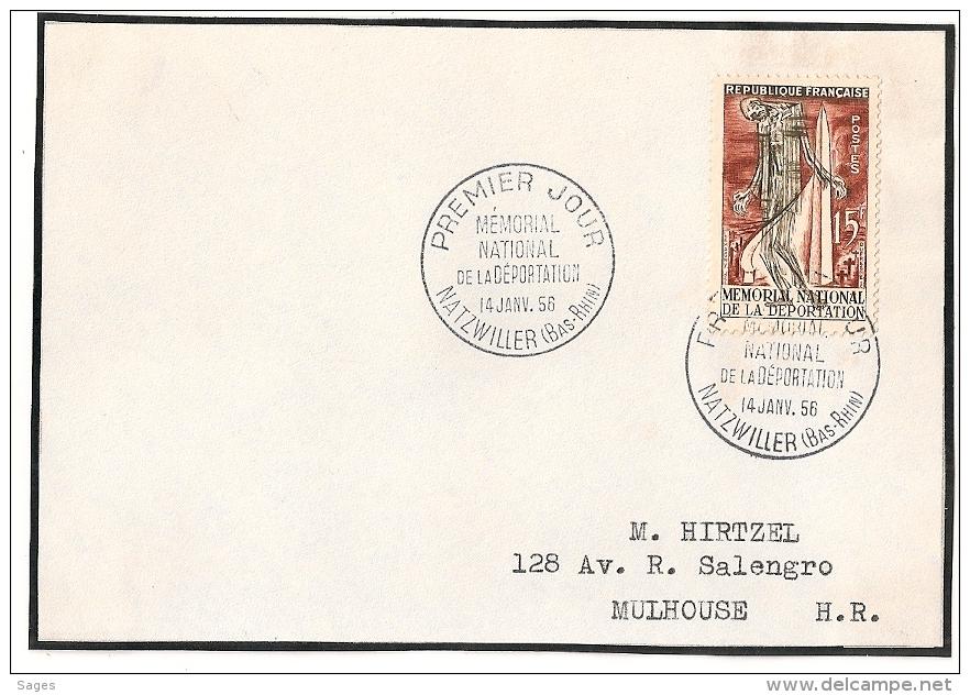 NATZWILLER Bas Rhin Sur Devant D'enveloppe. 1956. Déportation. - 1950-1959