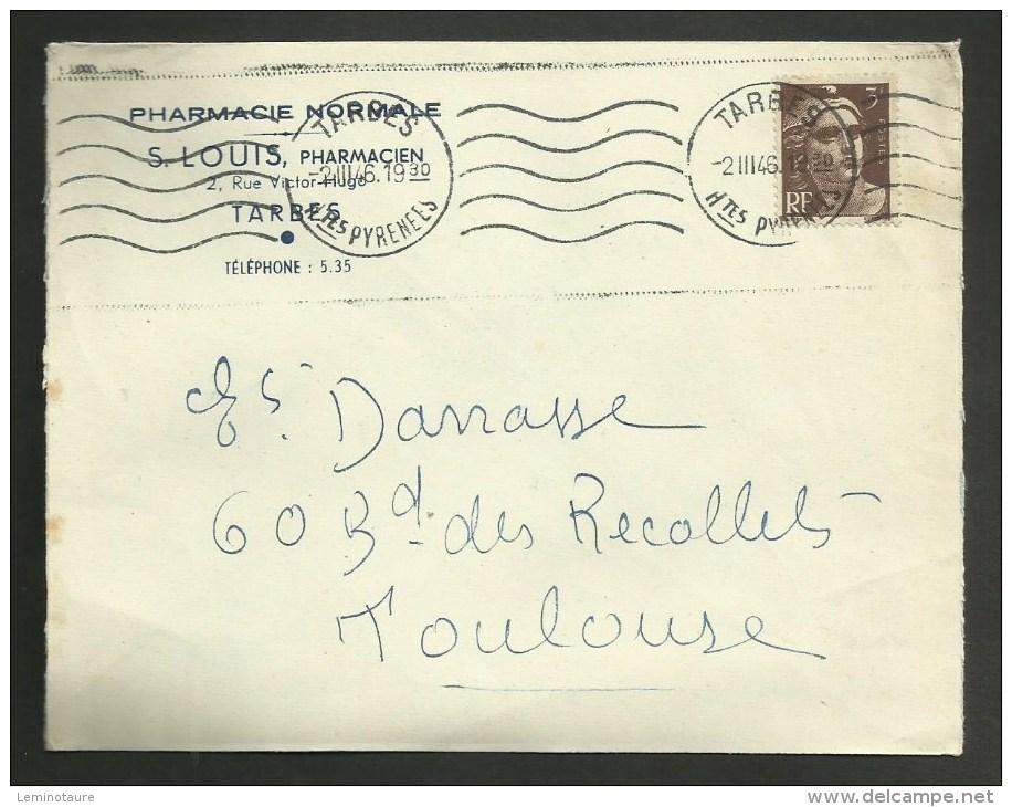 """Enveloppe Entete """" Pharmacie Normale S. LOUIS """" à TARBES - HAUTES PYRENEES / 1946 - Marcophilie (Lettres)"""