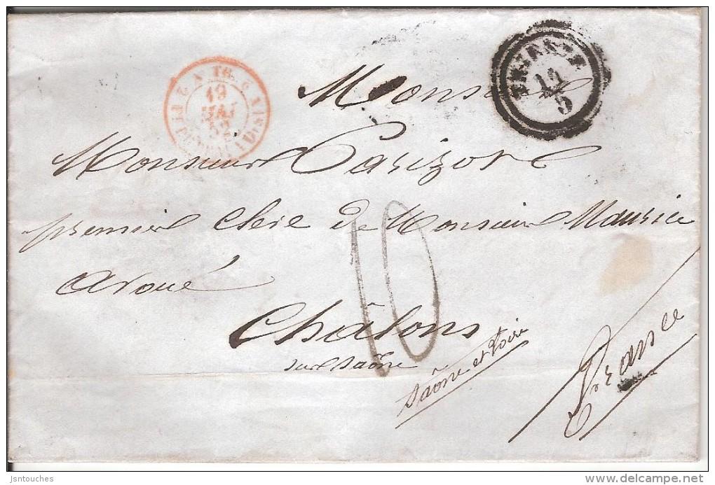 TRIESTE Pour CHALON SUR SAONE_1852_taxe 10 Au Tampon_cachet D'entrée - 7. Trieste