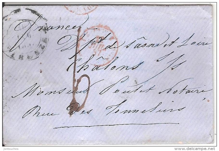 FLORENCE ( FIRENZE ) Pour CHALON SUR SAONE _ 1857_taxe 6 Manuscrite_cachet Entrée TOSCANE ANTIBES - Tuscany