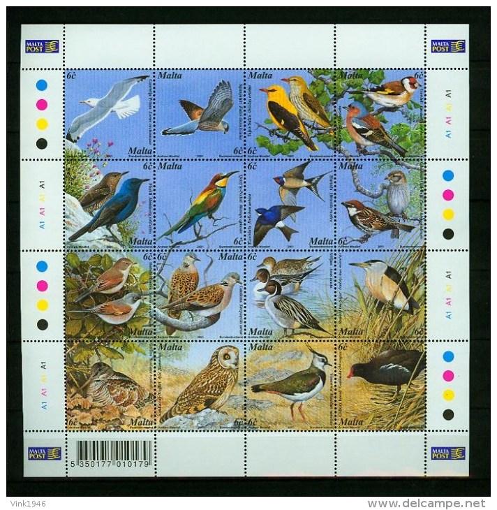 Malta 2001,16V In Sheetlet,birds,vogels,vögel,oiseaux,pajaros,uccelli,aves,MNH/Postfris(L2670) - Non Classés