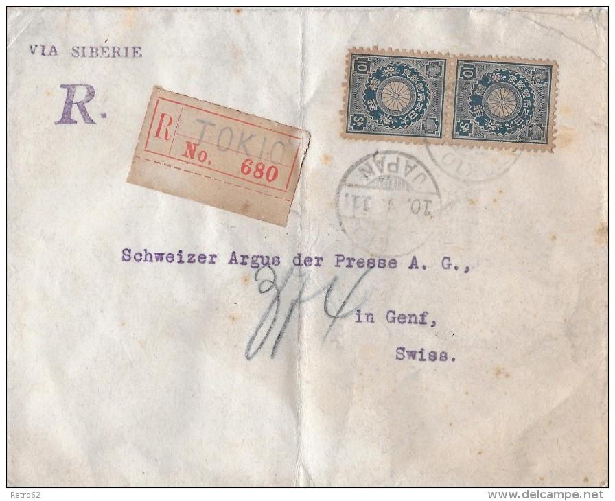 TOKIO - GENF → Einschreibebrief Von Tokio Vai Sibérie Nach Genf 1911 - Japan