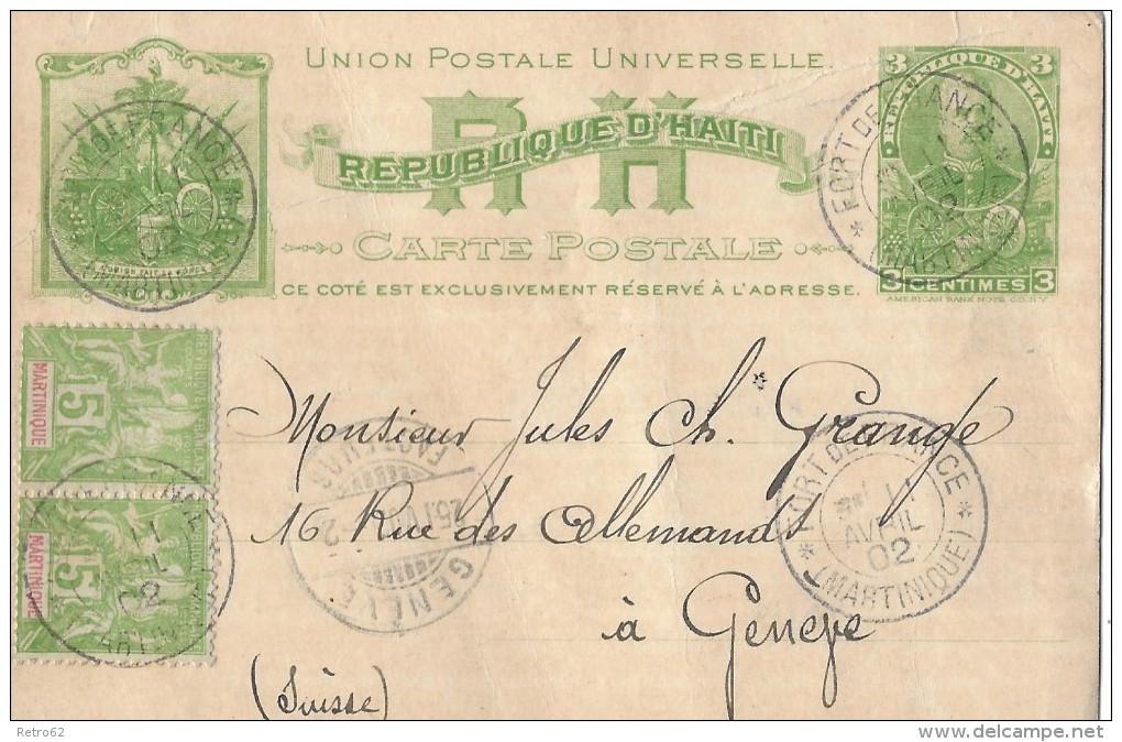 REPUBLIQUE D'HAITI - GENÈVE → Postkarte Mit Zusatzfrankatur ►Stempel Fort De France (Martinique) 11.April 19 - Haïti